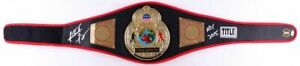 Riddick Bowe Signed Lot Leather Championship Boxing Belt, Glove