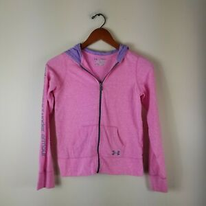 Under Armour Girls Full Zip Tri Blend Hoodie Sweatshirt Jacket YLG Pink