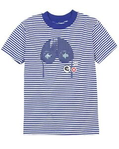 Deux par Deux Boys#x27; Blue Striped T shirt I Believe I Can Fly Sizes 18M 6