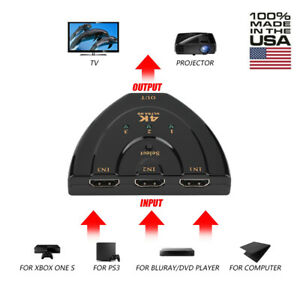 3 Port 1080P HDMI AUTO Switch Splitter Switcher  Cable for HD TV PS4 Xbox