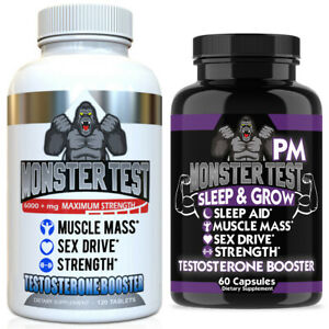 Monster Test Testosterone Booster Testosterona Supplement for Men AM and PM 2 Pk $18.79