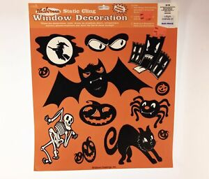 One (1) 12 In. X 14 In. Sheet Halloween Static Cling . Made In U.S.A.