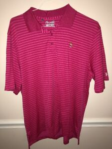 UNDER ARMOUR LOOSE HEAT GEAR PINK STRIPED GOLF POLO Whippoorwill Club NY Large $24.99