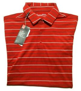 Under Armour Men's Medium Short Sleeve Golf Polo Shirt Striped Red Loose Fit $30.00