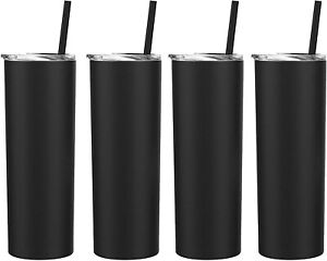 20 Oz Skinny Double Wall Stainless Steel Tumbler 4 Pack / With Straws