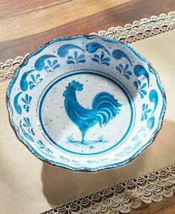 Country Blue Farmhouse Rooster Melamine Dinnerware Dishes Plates Bowls Platter $54.99