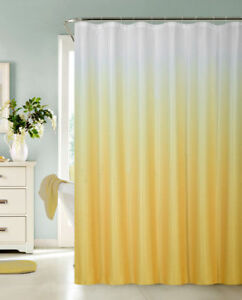 Ombre Canvas Fabric Shower Curtain with 12 Metal Roller Hooks Yellow
