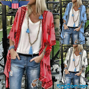 Women Boho Floral Kimono Cardigan Ladies Beach Holiday Blouse Loose Top Coats US