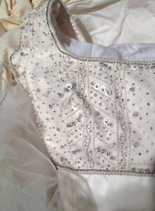 Priscilla of Boston Wedding Dress White Satin Empire Waist Beaded top size 4