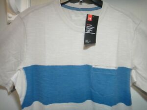 Under Armour Mens Casual Front Pocket Shirt Fitted Color Beige Blue Size XL $20.21