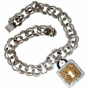 1.12 Carat Pretty Fancy Color Gemstones Lock Charm Unisex Bracelet In 925 Silver