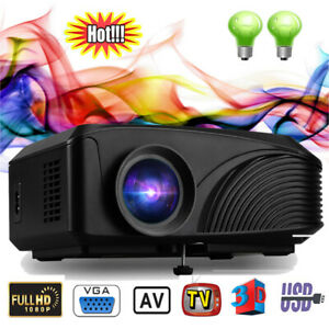 Excelvan Portable 800*480 1080P LED Projector HDMI Home Theater Outdoor bundle
