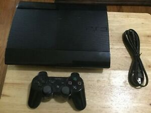 Sony PlayStation 3 PS3 Super Slim 500GB Black Video Game Console W Controller