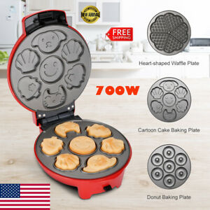 3-In-1 Non-Stick Electric Snack Cake Maker Waffle Cartoon Baker Machine+3 Plates
