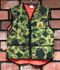 Vintage Sno King Youth Adult Small Camo Orange Hunting Vest 1982 NRA