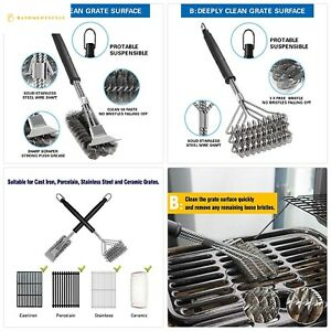 BBQ Grill Brush Set of 2, Safe Grill Cleaning Brush Stainless Steel Bristle Free
