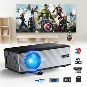 3D Portable LED LCD Projector 5000Lumen 1080P Home Theater VGA USB AV SD HDMI TV
