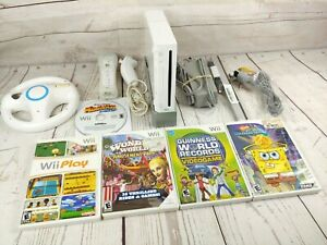 Nintendo Wii Console System w 5 Games + Controller ~ Fully Working! Bundle Lot