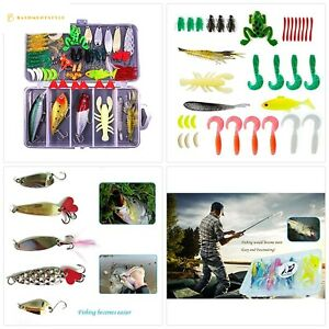 77-Pcs Fishing Lures Kit Set For BassTroutSalmonIncluding Spoon Lures Soft P