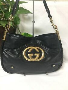 Authentic GUCCI 167734 GG Shoulderbag BLACK Leather Made in Italy
