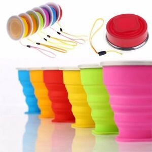 Silicone Retractable Folding Water Cup Travel Camping Outdoor  Collapsible Cups