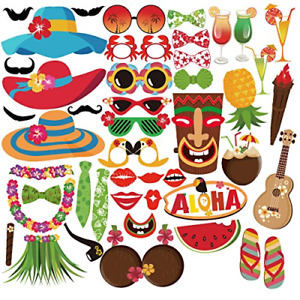 Hawaiian Photo Booth Props For Hawaiian Party Decorations Assorted Pattern New