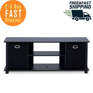 TV Stand Table Console Media Cabinet Entertainment Center Wood Storage Bins Led