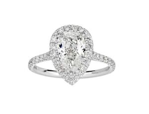 2.00 ct DSI1 Pear Cut Solitaire Diamond Halo Engagement Ring 14K White Gold
