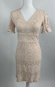 Womens 4 Lovely By Adrianna Papell Pink Lace Dress Peplum Short Sleeve $28.00