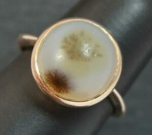 Victorian Dendritic Agate Solitaire 9ct Rose Gold Statement Ring t0447