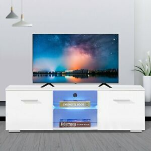 63'' High Gloss TV Stand Media Entertainment Center With LED Light Modern TO