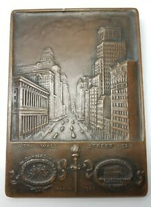 1928 Kilenyi Bronze Plaquette 55 Wall Street NYC National City Bank Now Citibank