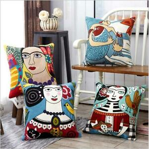 Abstract Girls 3D Embroidered Cotton Linen Throw Cushion Cover Pillow 18quot; $14.24