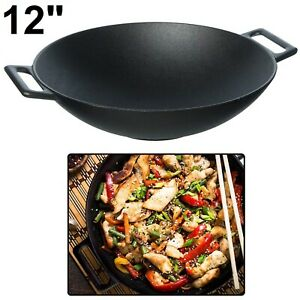CAST IRON WOK Pre Seasoned Heavy Duty Cooking 12 Inch Large Grilling Cookware
