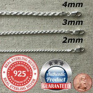 925 Sterling Silver real Italian Silver solid Rope Chain Mens womans Necklace $48.99