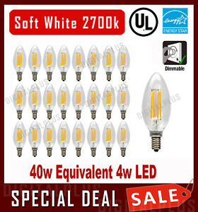 B10 LED Light Bulbs 40W Equivalent Soft White C12 E12 Base Candelabra Dimmable