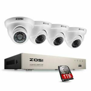 Zosi 8Ch Full True 1080P Hd-Tvi Dvr Recorder Hdmi With 4X 1980Tvl Indoor Outdoor