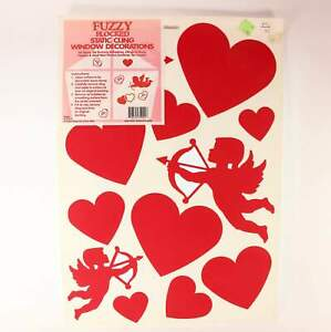 One (1) 12 In. X 17 In. Sheet Valentine's Fuzzy Flocked Static Cling . Made In U