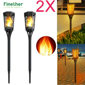 2x 99 LED Waterproof Solar Torch Light Dancing Flame Landscape Lamp Garden Yard