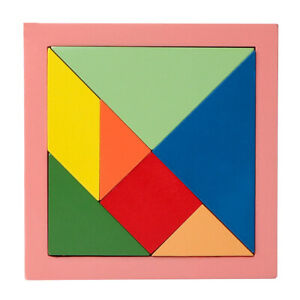 Colorful Wooden Tangram Geometry Puzzle Kids Developmental Toy,Easy to Grasp