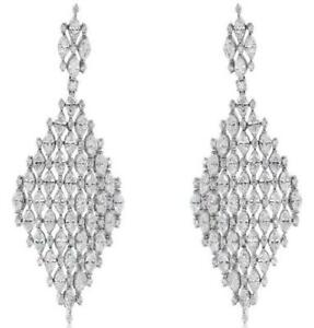 LARGE 12.05CT DIAMOND 18KT WHITE GOLD 3D GEOMETRICAL TEAR DROP HANGING EARRINGS