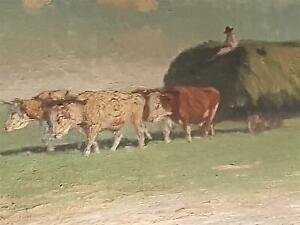 Antique Vintage Hungarian Oil Painting by Husveth Lajos Circa 1930 Cow Carriage
