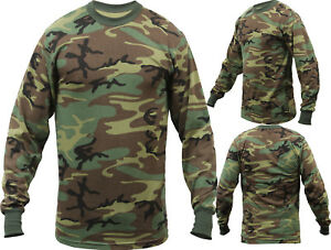 Tactical Long Sleeve Camo Tee Mens Woodland Camouflage Military Army T Shirt