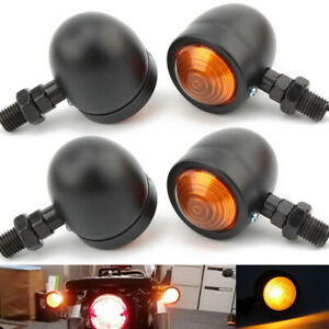 4X Motorcycle Black metal Bullet Turn Signal Amber Blinker Indicator Light Lamp