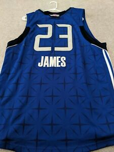 BRAND NEW WITH TAGS STITCHED LEBRON JAMES ALL STAR BLUE CAVS JERSEY SIZE 52 XL