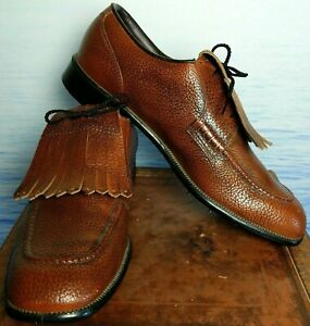 Arnold Palmer Eaton Brown Pebbled Kiltie Steel Spikes Golf Pleather Shoe 10 D