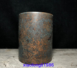 China antique Pure copper Red copper carving Flower Bird pattern Pen container