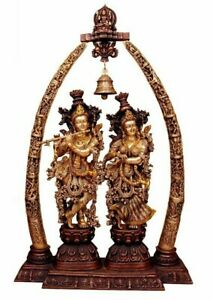 Brass Designed Antique Finish Radha Krishna Statue Sculpture for Traditional