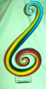 MURANO Blown Glass ABSTRACT MODERN Swirl SCULPTURE    RAINBOW amazing with tag