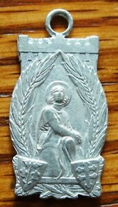 ANTIQUE VERY RARE old aluminum ST JOAN OF ARC BEAULIEU LES FONTAINES 1430